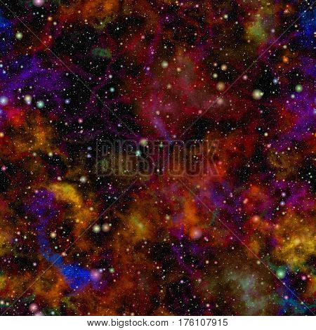Abstract glittering colorful universe, Nebula night starry sky, Multicolor outer space, Galactic texture background, Seamless illustration