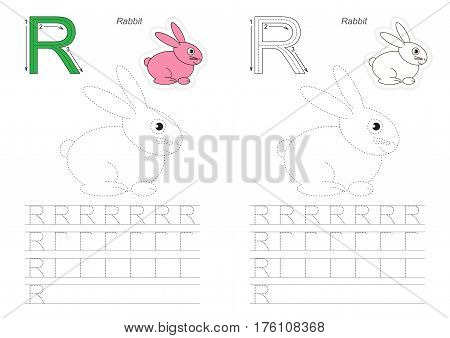Vector illustrated worksheet to preschool children learn handwriting. Page to be traced for gaming and education with easy educational kid game level, tracing worksheet for letter R. Rabbit.