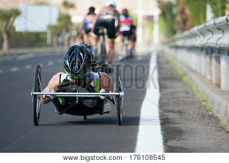 Wheelchair race cycling race triathlon participant, para triathlete