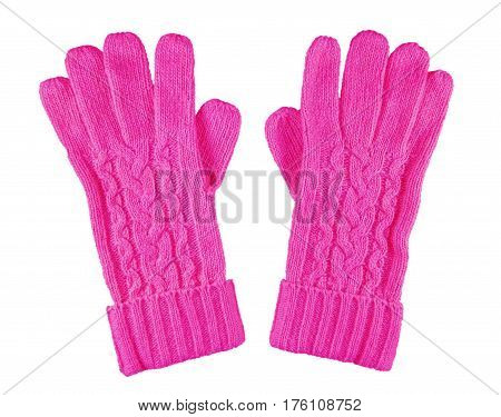 Woolen Gloves Isolated - Pink