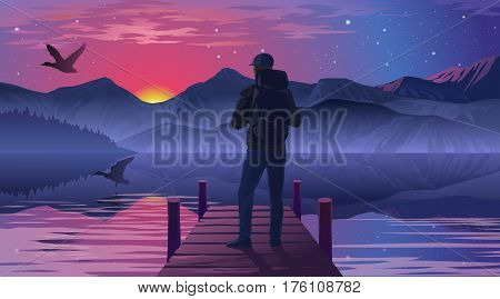 illustration of a man on the pier admiring the sunset