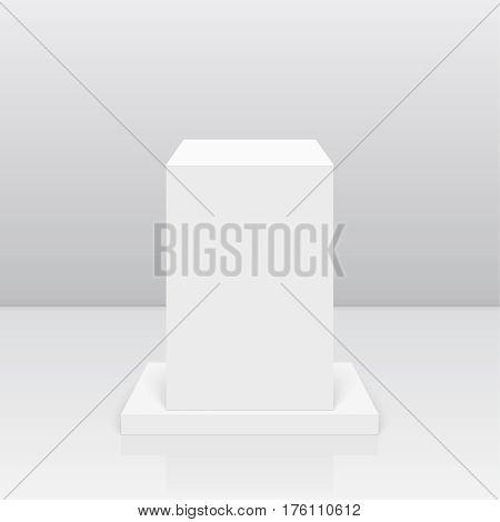 Pedestal for display. Platform for design. Realistic 3D empty podium