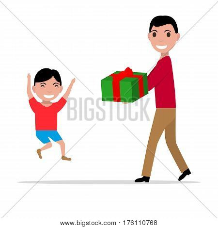 Vector illustration cartoon father giving her son a present. Isolated white background. Flat design. The man gives the boy a gift box.