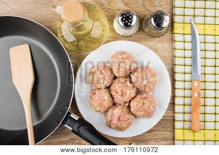 Raw Meatballs In Plate, Frying Pan With Spatula, Vegetable Oil