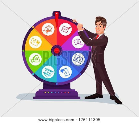 illustration of a business man spinning the wheel of fortune
