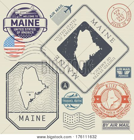 Retro vintage postage stamps set Maine United States theme vector illustration.