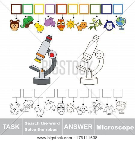 Vector rebus game for preschool kids with easy educational game level for kid education during gaming, find solution and write the hidden word in grid cells - Microscope