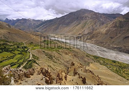 Spiti River in the High-Altitude Mountain Desert of the Spiti Valley in the Himalayas, Northern India.