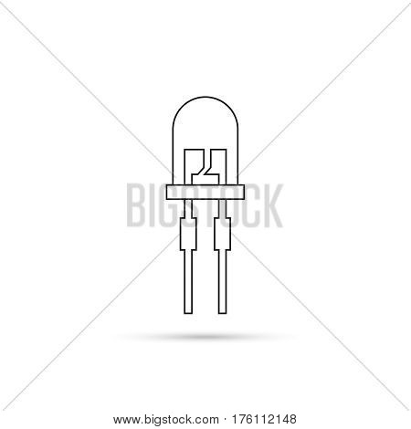 Vector illustration of light-emitting diode.  LED energy saving bulb. The trace element of the electronic device.