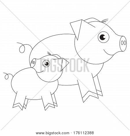Mom pig and her baby cartoon. Outlined object with black stroke.