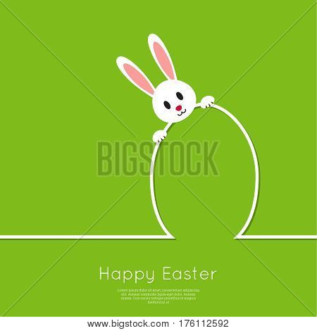 Happy easter cards illustration with egg, bunny. minimal outline. Vector isolated. Abstract background with Easter funny rabbit. green