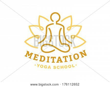 Lotus yoga logo - vector illustration, emblem design on light background