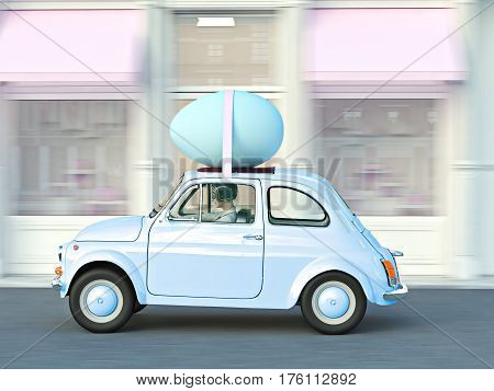 woman rushes in a car with easter egg on roof. 3d rendering