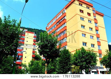 Racadau cvartal in south of the city Brasov, Transylvania. Typical urban landscape. Brasov is the center of Romania. 300.000 inhabitants