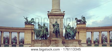 Heroes' Square Millennium Memorial with Arpad and chieftains vintage