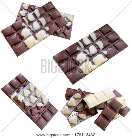 Chocolate bar white background brown candy diet fat food isolated.