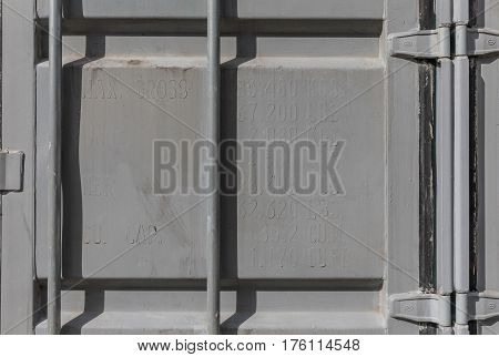 Old Container repainted in gray over the specifications