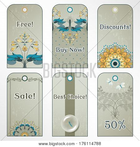 Set of six tags. Hosta fern and lacewing on vintage plaster background. Place for your text.