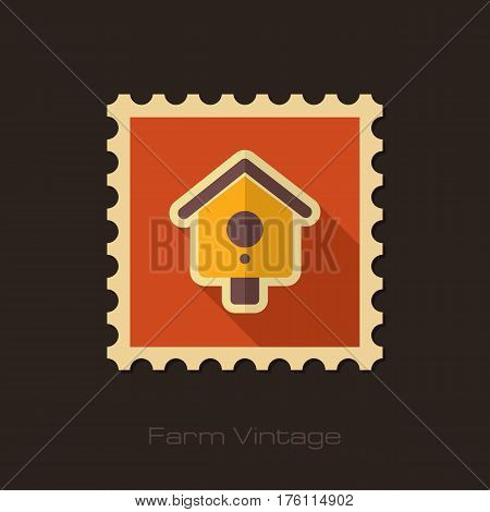 Nesting box bird-house retro flat stamp with long shadow isolated garden eps 10