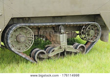 The Tracks of an Old Military Armoured Vehicle.