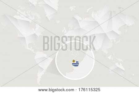 Uruguay Map With Flag In Contour On White Polygonal World Map.