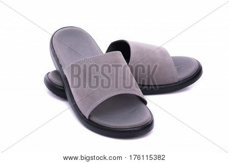 Close up of grey leather sandal on white background solated.