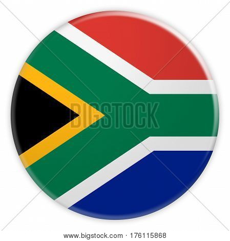 South Africa Flag Button News Concept Badge 3d illustration on white background