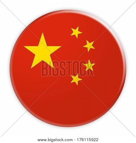 China Flag Button News Concept Badge 3d illustration on white background