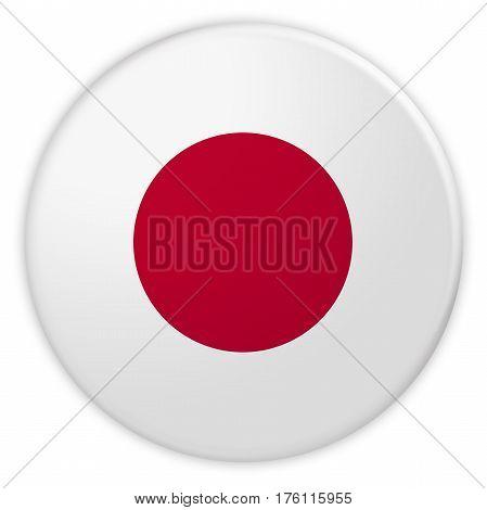 Japan Flag Button News Concept Badge 3d illustration on white background