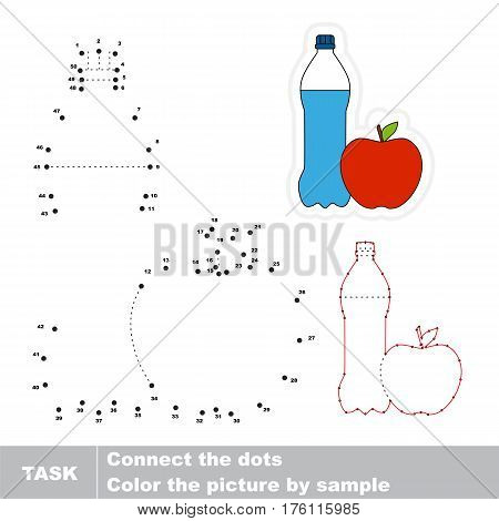 Water and Apple in vector to be traced by numbers, the easy educational kid game with simple game level, join dots, the visual numbers game for preschool children.