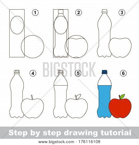 Funny drawing kid school, the vector kid educational game to develop drawing skill with easy game level for preschool kids education, drawing tutorial for Water and Apple