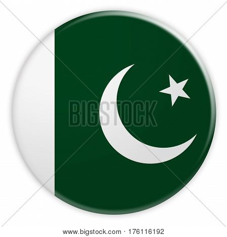 Pakistan Flag Button News Concept Badge 3d illustration on white background