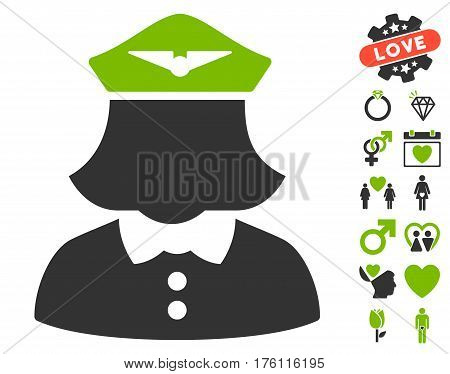 Airline Stewardess pictograph with bonus lovely graphic icons. Vector illustration style is flat iconic eco green and gray symbols on white background.