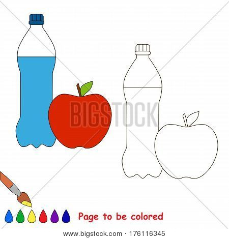 Bootle and apple to be colored, the coloring book to educate preschool kids with easy kid educational gaming and primary education of simple game level.