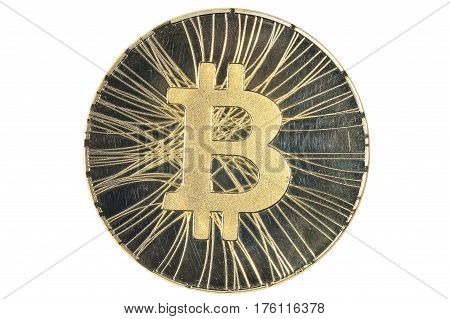 Shining gold metal BTC bitcoin coin on white background.