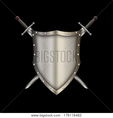 Ancient riveted shield with two swords on black background.