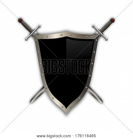 Ancient riveted shield with two swords on white background.