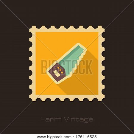 Hand saw retro flat stamp with long shadow isolated garden eps 10