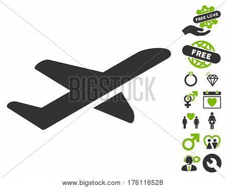 Airplane Takeoff icon with bonus dating graphic icons. Vector illustration style is flat iconic eco green and gray symbols on white background.
