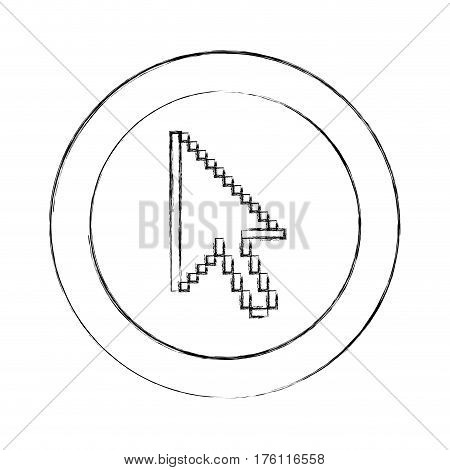 blurred silhouette circular frame with pixelated cursor arrow vector illustration