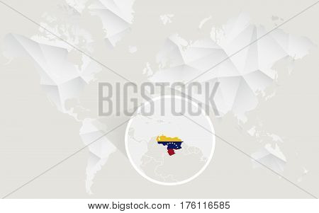Venezuela Map With Flag In Contour On White Polygonal World Map.