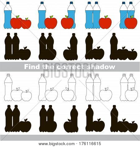Water and Apple set to find the correct shadow, the matching educational game to compare and connect objects and their true shadows, kid logic game with simple game level for preschool kids education.