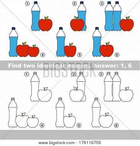 Educational kid matching game to find design difference, the task is to find similar objects, the educational game for kids with easy game level to compare items and find two same Bootles and Apples.