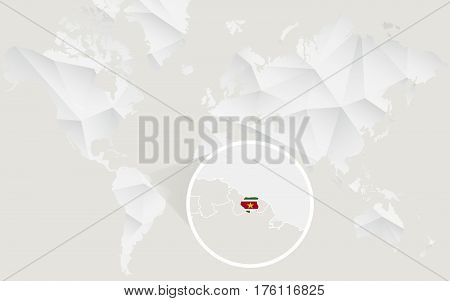 Suriname Map With Flag In Contour On White Polygonal World Map.