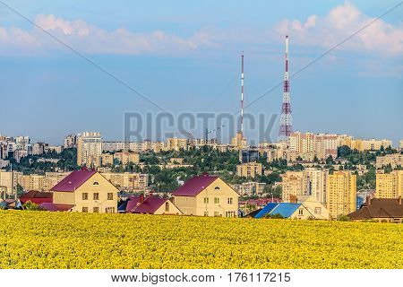 Urban landscape of the southern residential district of Belgorod city Russia. Cityscape with view of the city TV towers.