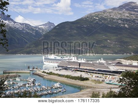 The view of Skagway town port popular touristic destination in Alaska.