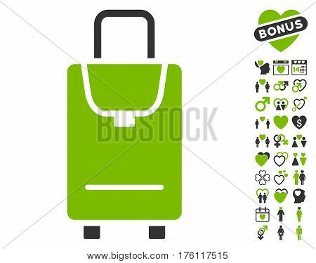 Carryon icon with bonus love pictures. Vector illustration style is flat iconic eco green and gray symbols on white background.