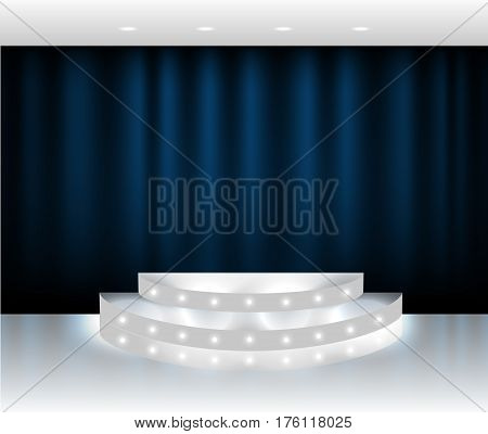 Vector blue curtain stage scene with spotlights and white glossy floor