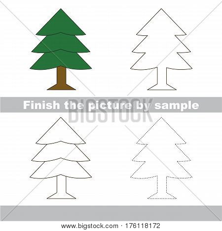 Drawing worksheet for preschool kids with easy gaming level of difficulty, simple educational game for kids to finish the picture by sample and draw the Fur Tree