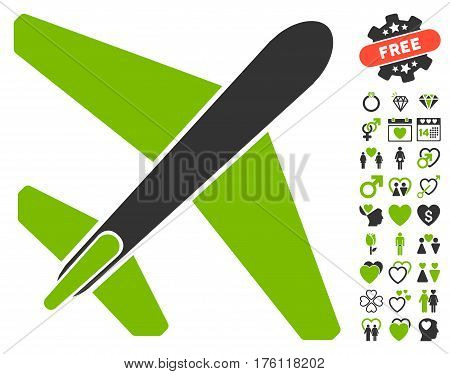 Jet Airplane pictograph with bonus valentine pictograms. Vector illustration style is flat iconic eco green and gray symbols on white background.